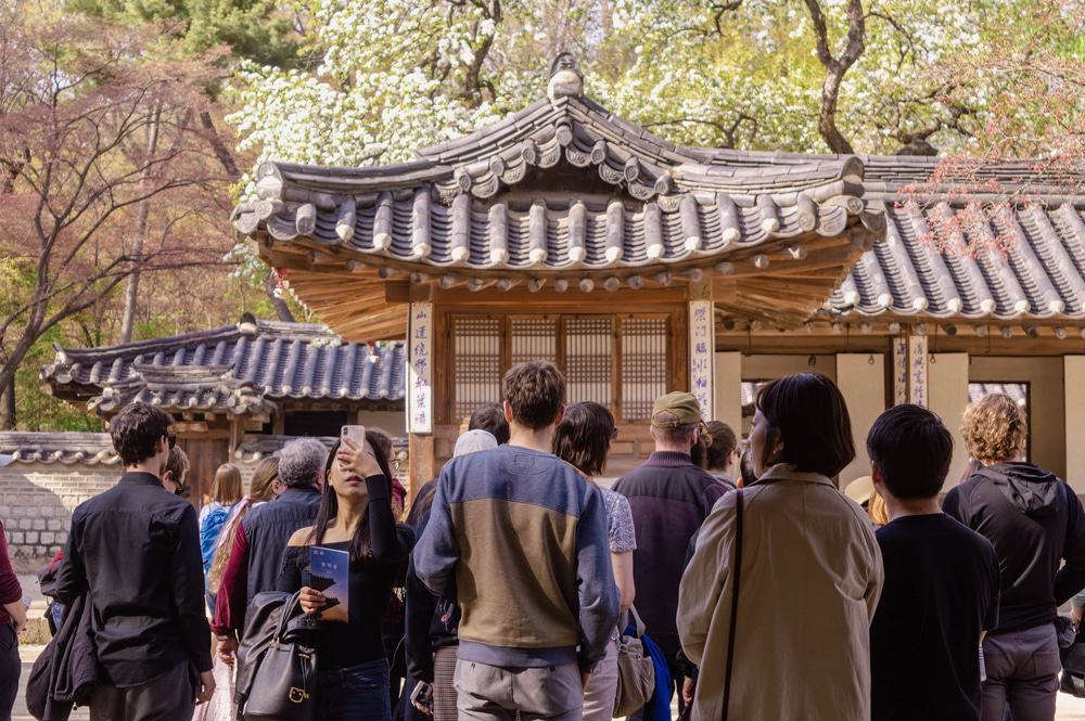 Grupo turístico en Seúl